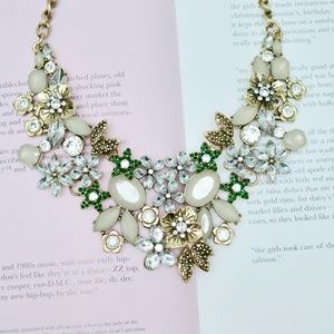 Gorgeous Gold Silver Green Gem Statement Necklace